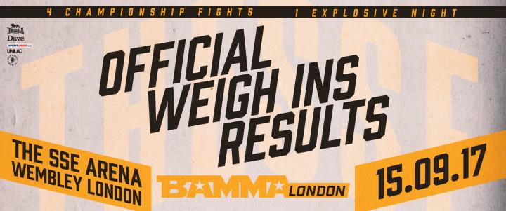 BAMMA London Official Weigh Ins