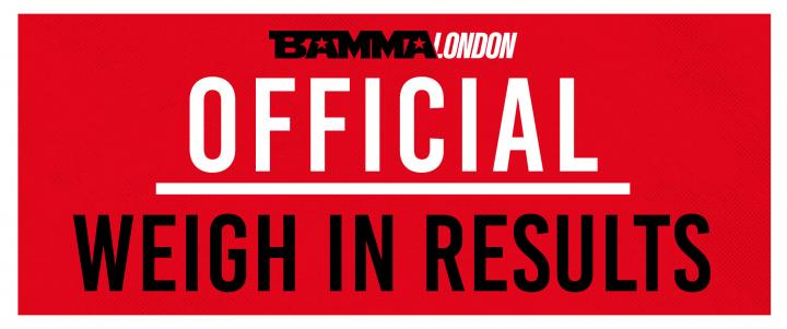 BAMMA London: McKee Vs. Brazier - Official Weigh In Results